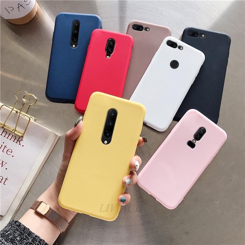Матовый Силиконовый чехол карамельного цвета для телефона oneplus 6 6t 5 5t 7 pro pt красный черный ТПУ задняя крышка fundas Чехлы для one plus 6 5