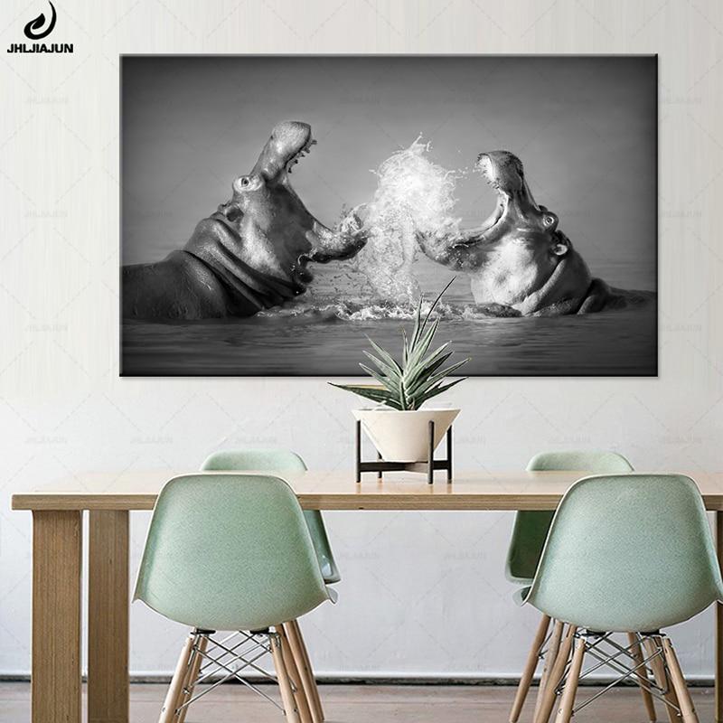JHLJIAJUN-toile de peinture Hippos bataille   Affiche murale noire et blanche, impression et affiches modulaires pour chambre à coucher, décoration de la maison