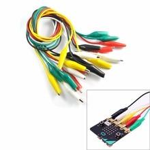 10 pcs/lot pour Micro agrafes dalligator de microbit de bit avec le fil, agrafes électriques de Crocodile de fil de cavalier dessai de fils dessai