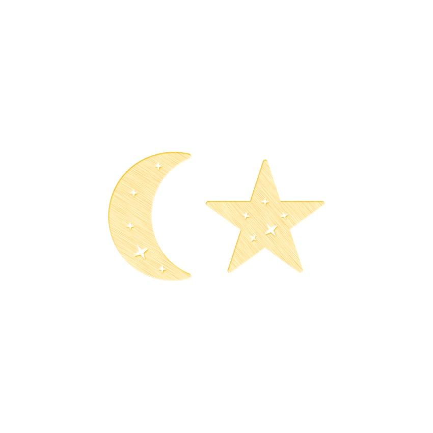 Retro negro asimetría estrella Luna forma Stud pendientes mujer fiesta novia regalo acero inoxidable minimalista joyería de moda