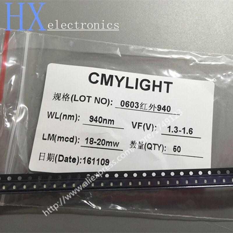 Frete grátis 50 PCS 0603 1608 1.6*0.8*0.6mm 940nm SMD lâmpada infravermelha IR LED 1.3-1.5 V contas de Luz de 18-20 mW ATACADO
