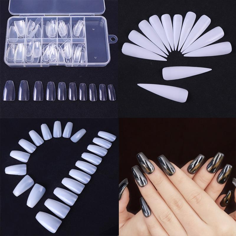 500/100/24Pcs  False Nail Tips Coffin Shape 1Box Long Beauty Full Tips Natural White ClearManicure Nail Art Decoration
