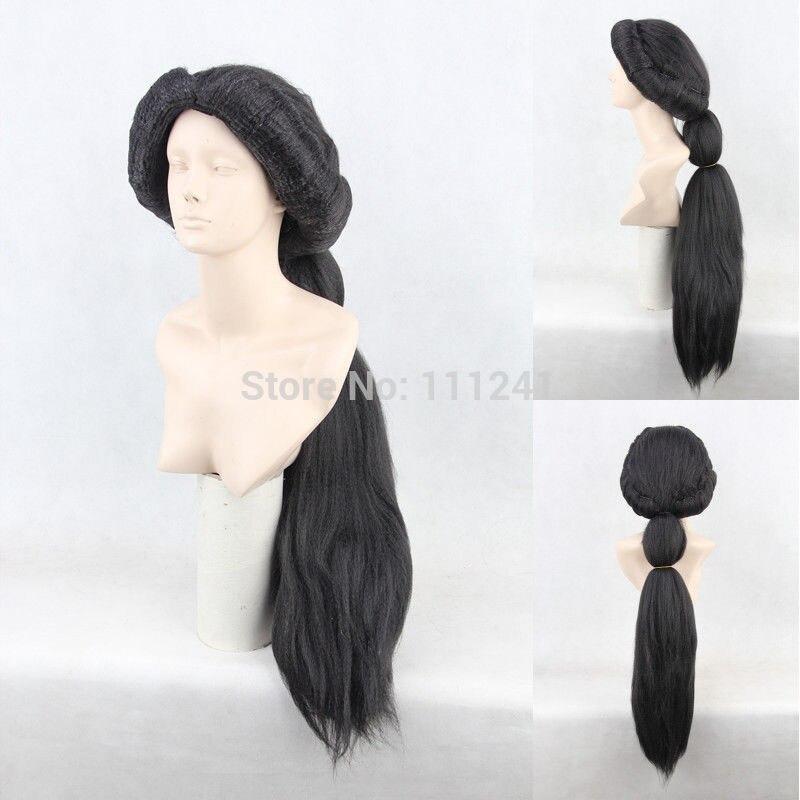 Jasmine 80cm negro largo estilo trenza esponjosa sintética Cosplay del pelo disfraz peluca + gorra de peluca gratis