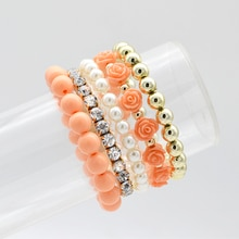 Juego de 5 unidades de pulsera de estilo bohemio sencillo para mujer, pulsera de cuentas de perlas de imitación Rosa bonita y brazaletes, joyería DIY hecha a mano