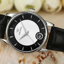 Brand Women Elegant Dress Watches Imported Quartz Wrist watch Crystals Genuine Leather Strap Watch S