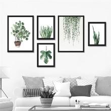 Affiche imprimée de plantes tropicales   Feuille de plante verte aquarelle, photos murales rurales, pour décoration de la maison DP0382