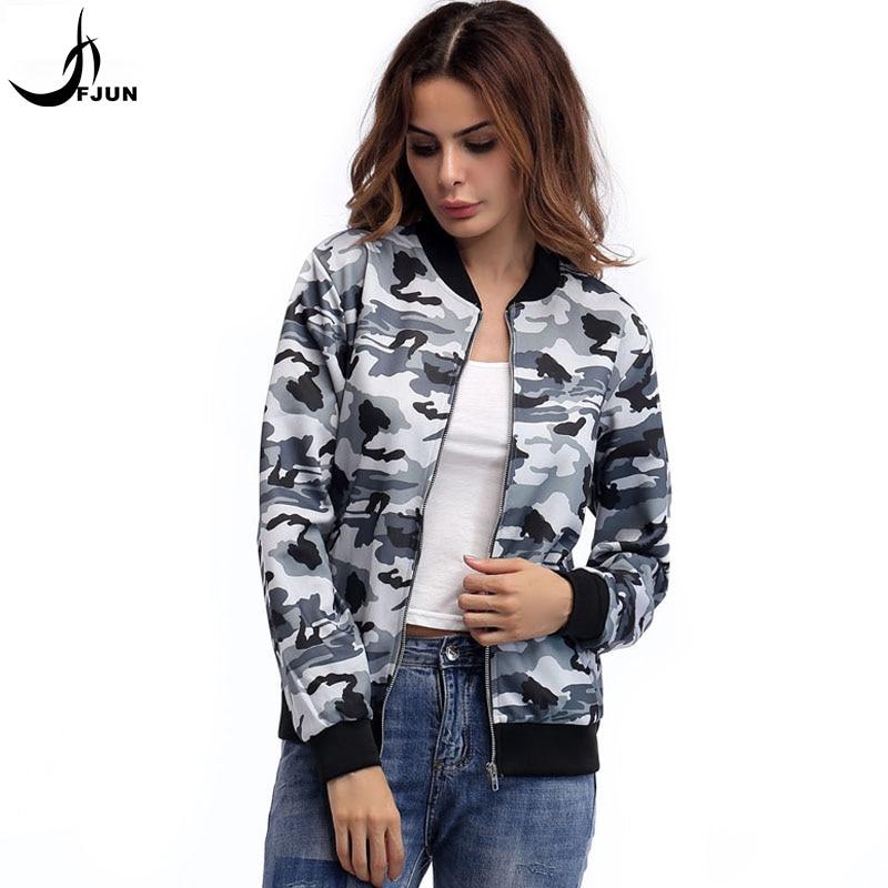 FJUN 2018 ropa de mujer otoño nuevo abrigo estampado de camuflaje estilo de moda superior cuello redondo cremallera cómodo abrigo femenino