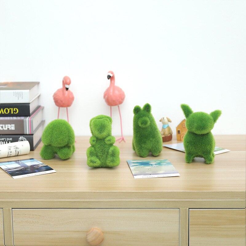 YO CHO 4 шт маленькие животные искусственная трава украшения комнатные растения украшение для дома и офиса зеленый пасторальный мох Имитация ...