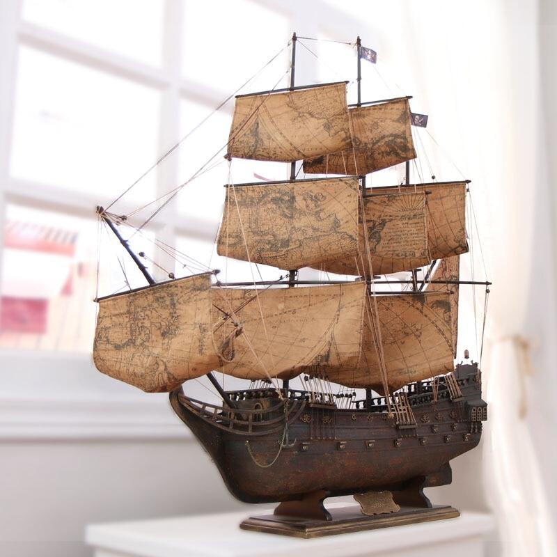 Mediterranean Pirates Model Assembled Ornaments 95cm Manual European Craft Accessories Handmade Sailboat Mediterranean Wooden