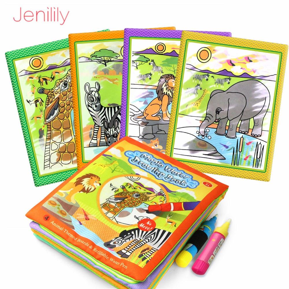 Libro de dibujo de agua mágico para colorear con bolígrafo juguete educativo para bebés animales pintura escritura Doodle libro de tela niños tablero de dibujo