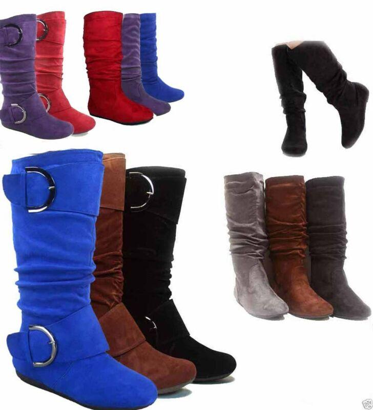 Cute Slouch Comfort Casual talón plano media pantorrilla bota con punta redonda zapatos nueva hebilla botas bajo hasta la rodilla de talla grande 42 43