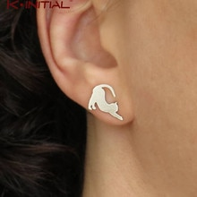 Kinitial Cartoon Cute Gold Naughty Cat Stud Earrings For Women Kitty Cat Korean Earrings 2019 Christ