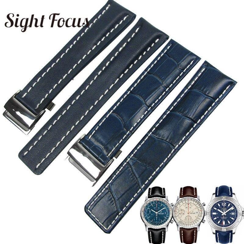 Correa de reloj de piel de becerro para Breitling correa de reloj 20mm 22mm 24mm pulsera de cuero negro marrón azul correa de reloj Masculino