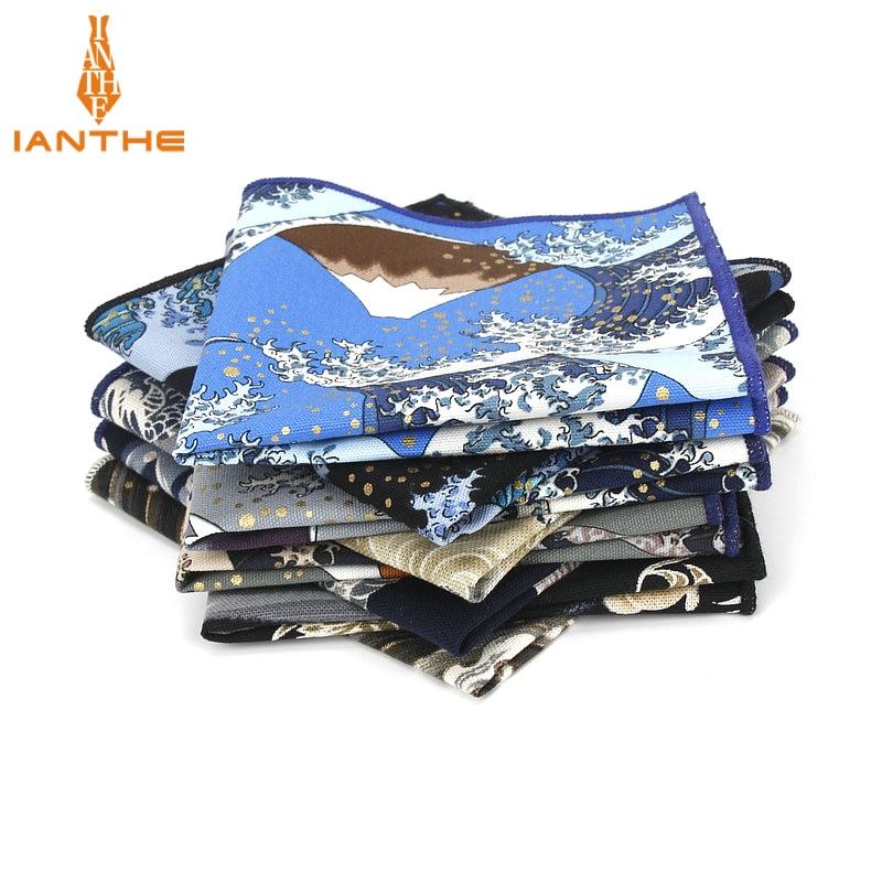 2018 Brand New Men's Suits Pocket Square Handkerchiefs Wave Cotton Flower Printed Hankies Casual Bus