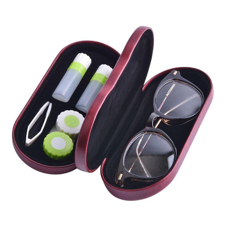 Estuche creativo para gafas de doble uso, caja de doble capa hecha a mano, cajas multiusos para lentes de contacto para hombres y mujeres, Unisex