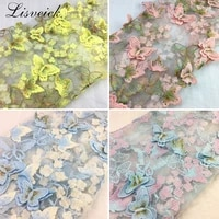 1yard exquisite 3d butterfly embroidery lace fabric multicolor gold thread bridal gown wedding fabrics tulle cloth diy dress