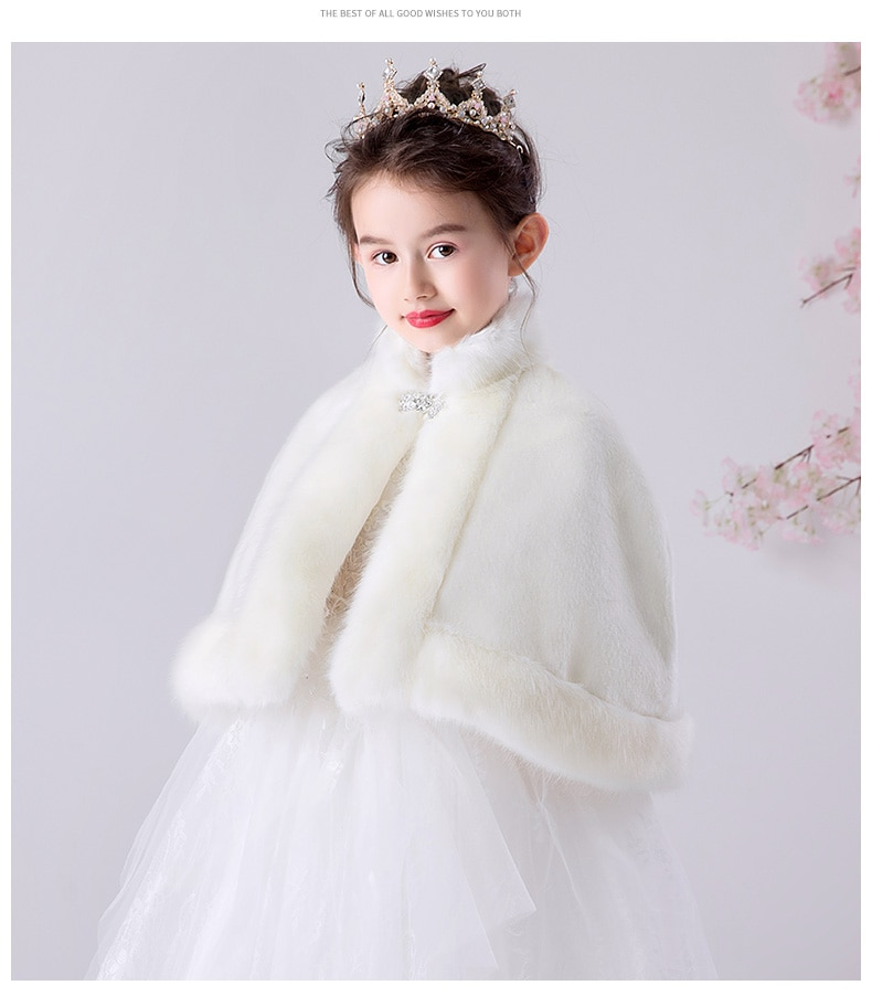 Children newborn girl fur cape infant formal princess cape baby plush cloak kids dress cape bridesmaids Fur coat Boleros 3m-8t