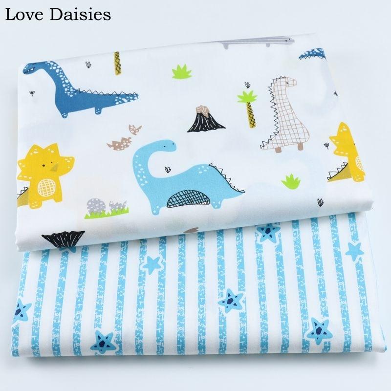 Tela de sarga 100% de algodón de dibujos animados blancos Azul Fresco de dinosaurio Palma rayas estrellas telas para DIY niños ropa de cama cojín decoración hecha a mano