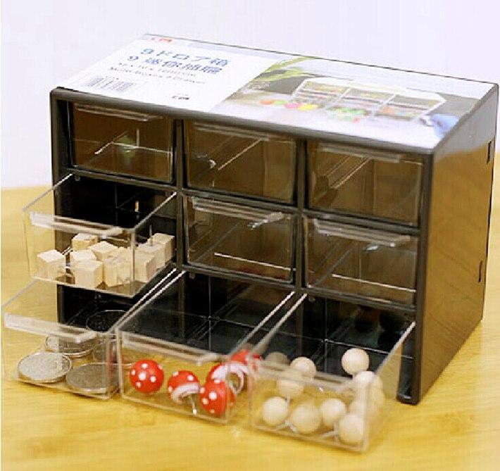 Creative 9 joyas de plástico Mini caja de almacenamiento de residuos gabinetes de celosía portátil Amall cajón clasificación rejilla de escritorio suministros de oficina