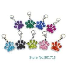 10pcs HC358-1 Bling Enamel Cat Dog/Bear Paw Prints Rotating Lobster Clasp Key Chain Keyrings bag Jewelry Making