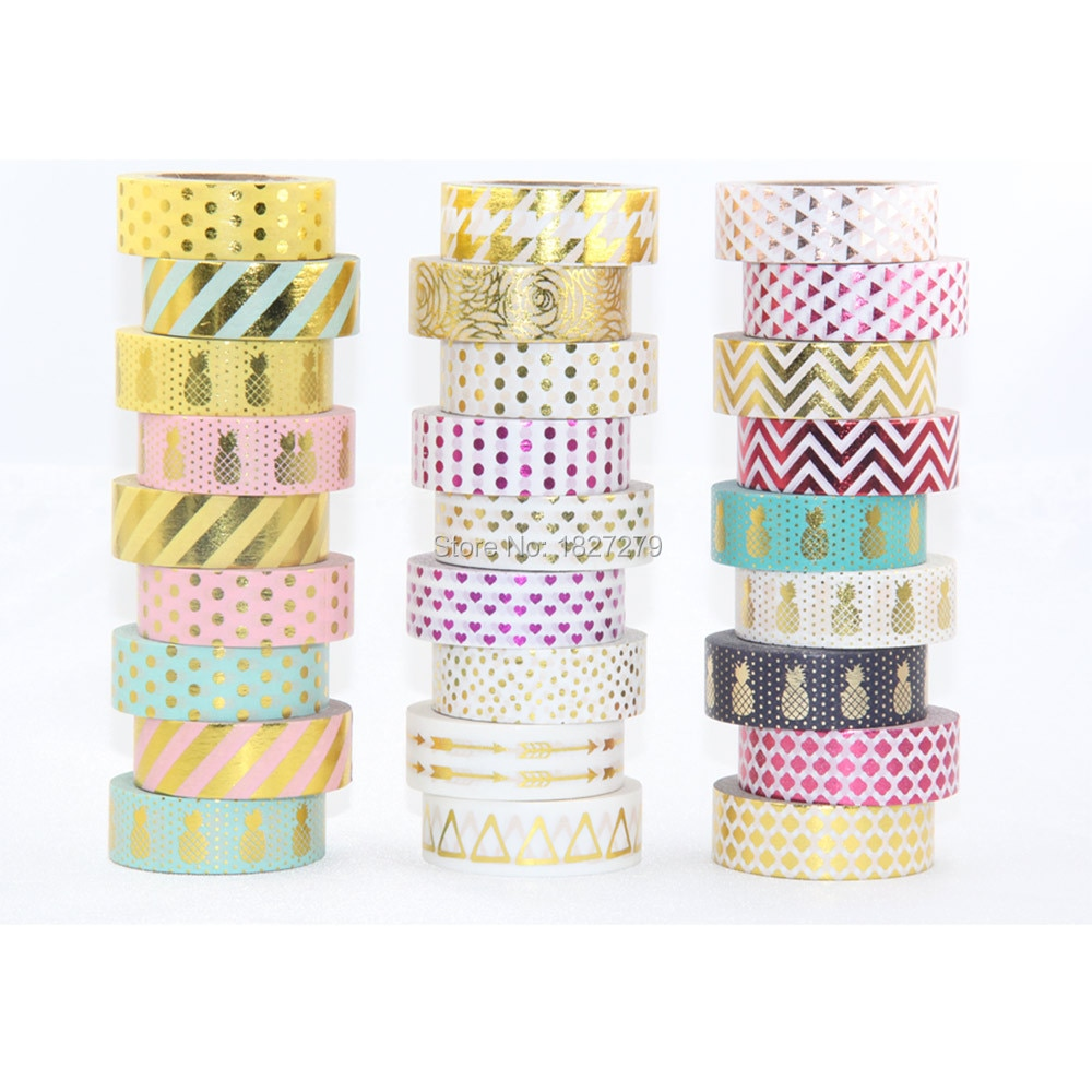 New 10X gold foil masking Tape For Christmas Card Decorative gold Paper washi Tape 10 rolls