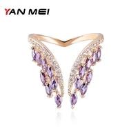 yanmei open adjust size rings for women aaa cubic zirconia fashion jewelry female rings ymj1806