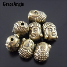 GraceAngie 40 pièces Antique Bronze ton alliage bouddha tête breloques trou 2mm collier Bracelet artisanat perles chaudes 11*9*8mm bijoux
