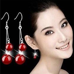 Nehzy 925 prata esterlina nova mulher jóias moda brinco preto vermelho manao brincos de luxo moda alta qualidade