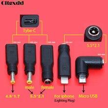 Micro USB pour iphone mâle   1 pièce DC 5.5*2.1mm type-c femelle à 5,5x2. 1/4.8*1.7mm, prise Micro USB pour ordinateur portable, adaptateur dalimentation DC
