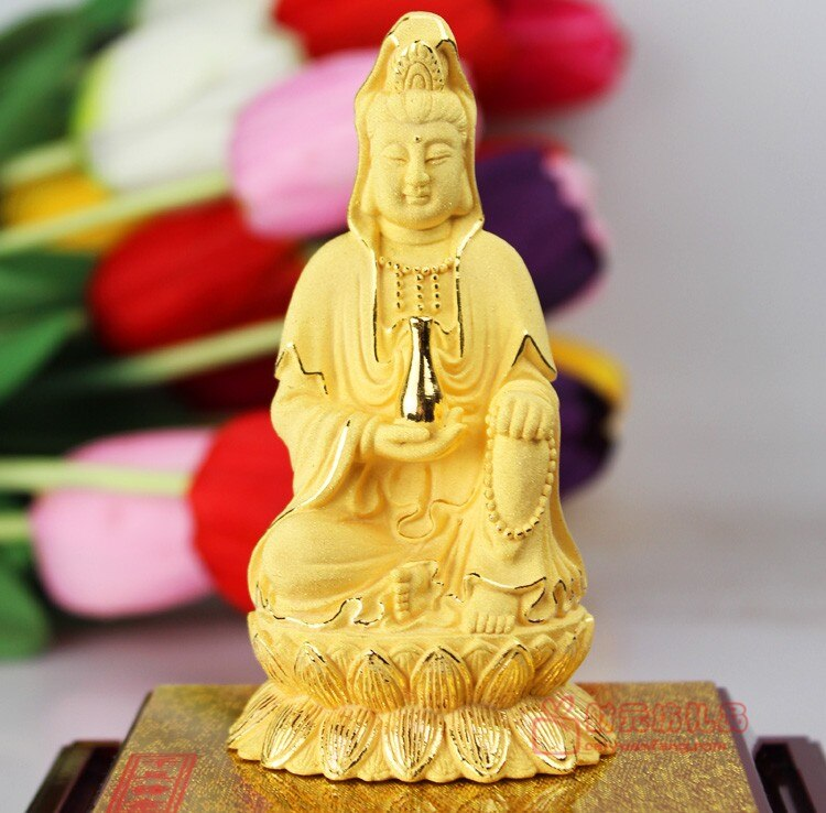 TOP ART collection -2020 home LIVING ROOM Decor-11 CM efficacious gold plating Buddhism Avalokitesvara safe statue sculpture