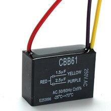 Becornce 1 pc condensateur ventilateur noir CBB61 1.5 uF + 2.5 uF 3 fils AC 250 V 50/60Hz condensateur pour ventilateur de plafond