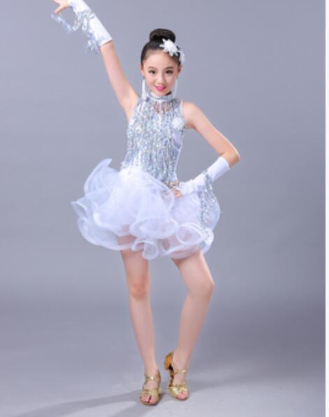 3 colores azul Rosa 110-160cm rumba baile latino vestido tango samba etapa de competencia vestido profesional niña niño traje