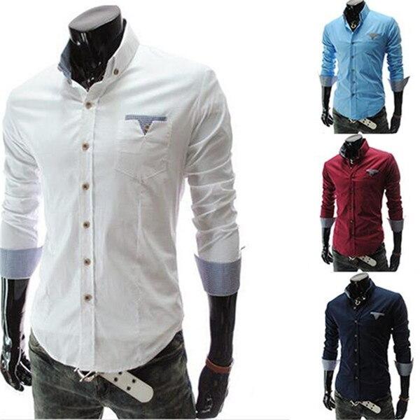 1Pcs Fashion Men Casual Slim Solid Color Tops Male Patchwork Long Sleeve Men's Cotton Long Sleeve Blouse