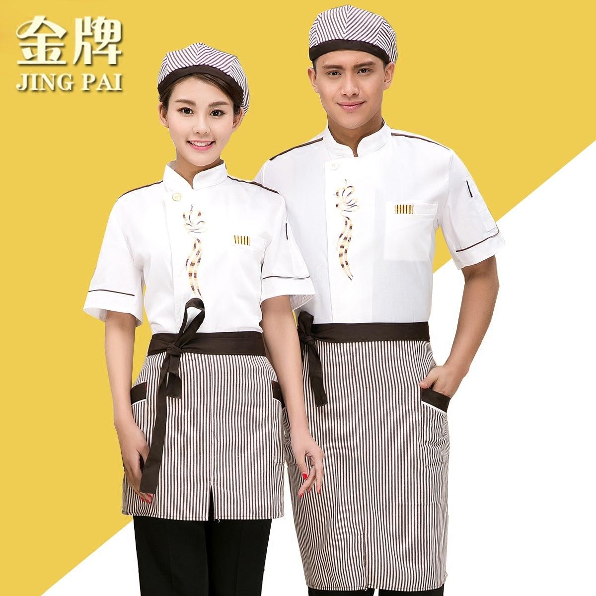 Cook Suit Summer Short-sleeve Chef Uniform Clothes Kitchen Clothes Cook Work Wear Hotel Restaurant Working Clothes B-5974