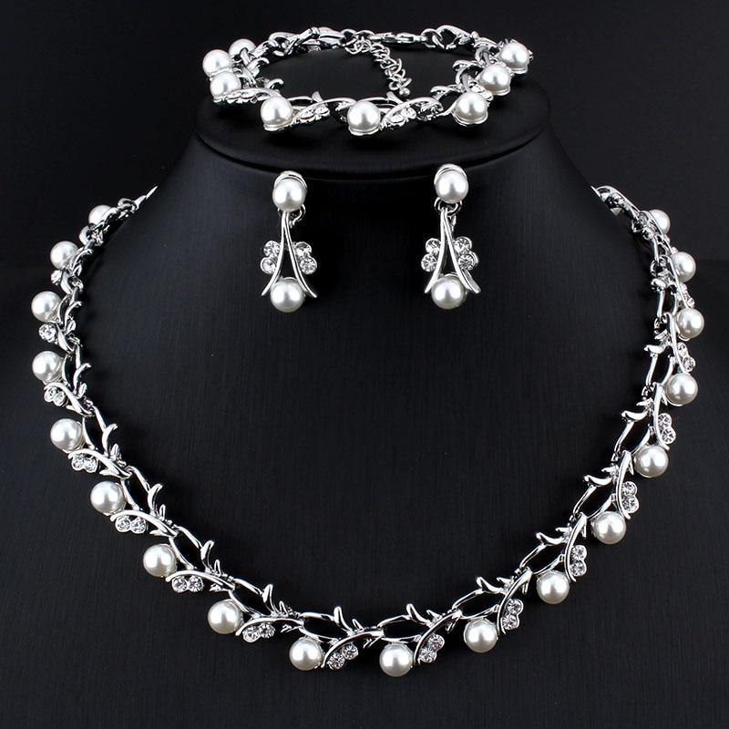 Женский комплект ювелирных изделий Weibang, комплект ювелирных изделий из искусственного жемчуга с искусственным кристаллом