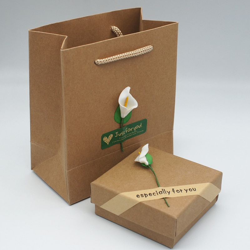 Paper Jewelry Gift Box Necklace Bracelet Earrings Bracelet Bangles Paper Bag Flower Pattern Gift Packing Display Box