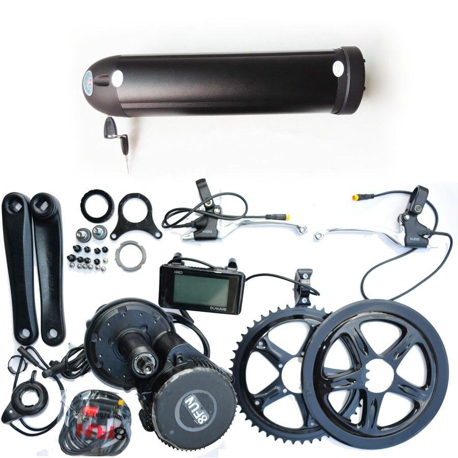 Kit de bicicleta eléctrico de 48 motores Paquete de batería de bicicleta e estilo botella de iones de litio samsung 48V 15Ah y kit de motor de accionamiento medio 8fun 48V 500w bbs02