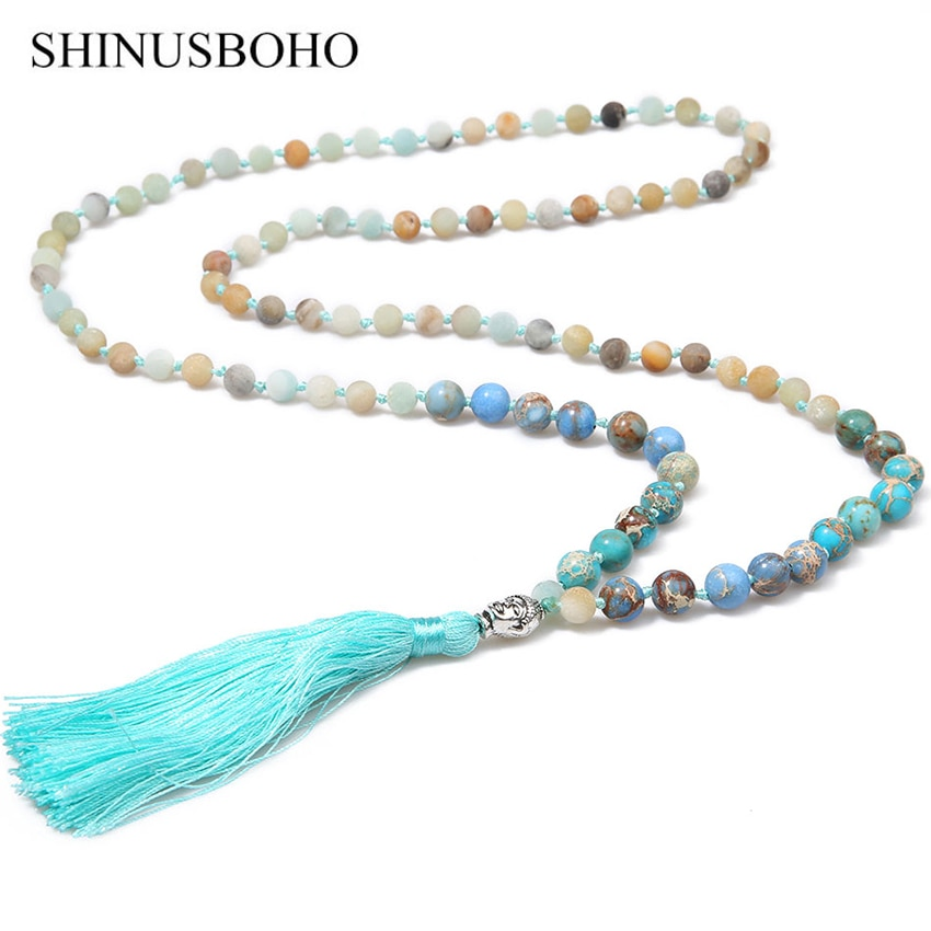 Shinus boho religião buda cabeça colar para mulher meditação yoga jóias natural semi-preciosa pedra longa borla colares
