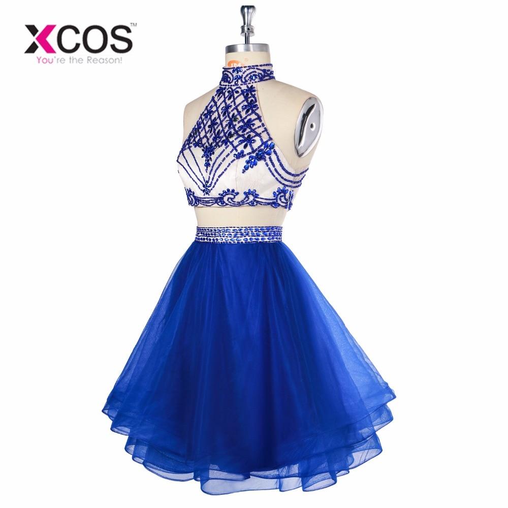 XCOS 2018 azul real Gardlilac Halter dos piezas Homecoming vestido tul rebordear corto Homecoming vestido Sexy vestido de fiesta vestidos