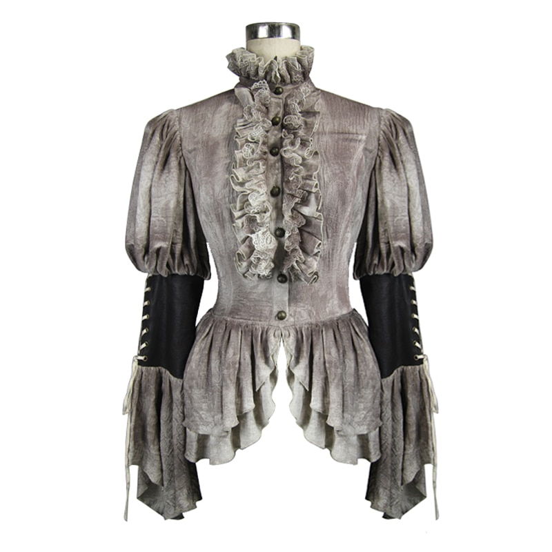 Devil Fashion Palace Noble Double Layer Ruffles Flare Sleeve Women Blouses Steampunk Spring Autumn Retro Lace Collar Women Shirt