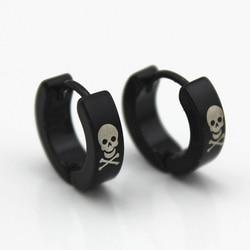 10 pares/lote homens brincos de argola de aço inoxidável feminino crânio preto charme pequeno círculo redondo huggie brinco orelha jóias acessórios