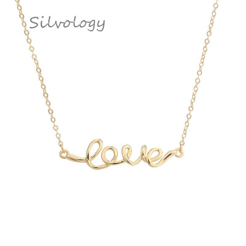 Silvology 925 Sterling Silber Liebe Brief Anhänger Halskette Einfache Design Wilden Elegante Halskette Für Frauen Festival Edlen Schmuck