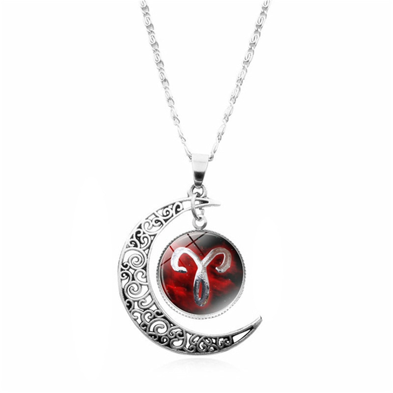 Femmes pendentif collier galaxie Constellation Design 12 signe du zodiaque Horoscope astrologie collier pour femmes hommes verre Cabochon