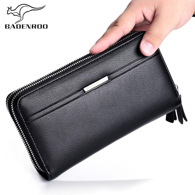 Badenroo, nueva cartera de cuero de moda para hombre, cartera de mano informal para monedas de lujo, cartera para teléfono móvil, cartera multifunción para hombre