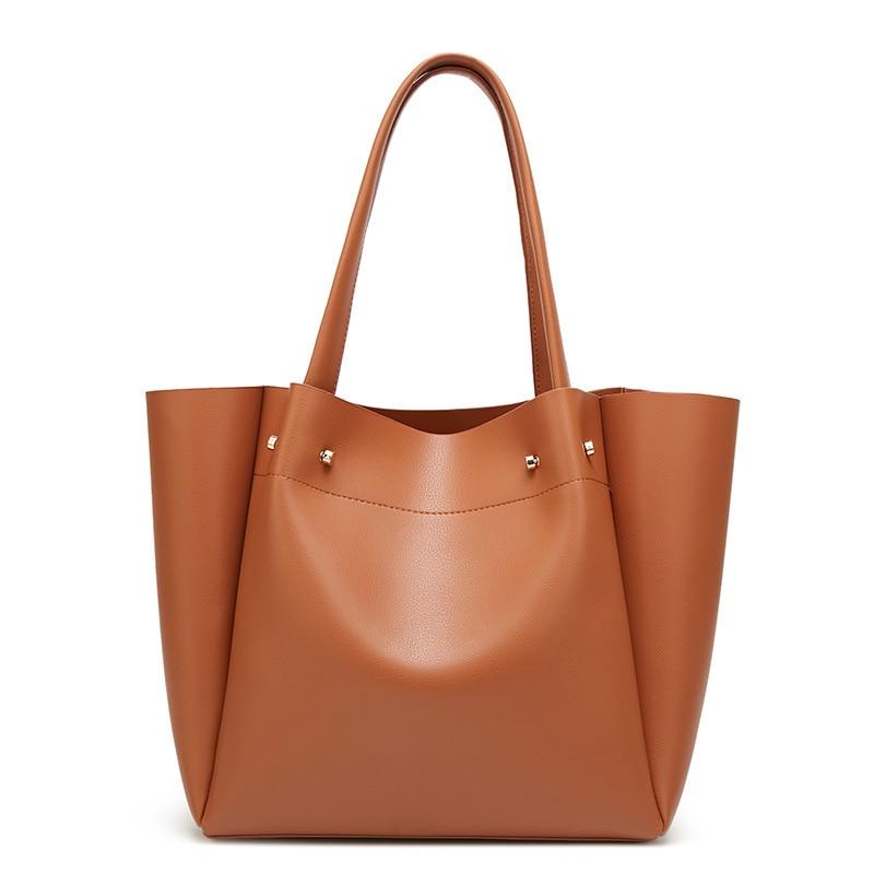 Bolsos de mano de piel sintética de buena calidad de la marca Gina Tang para mujer, bolsos de diseñador, bolsos de hombro para mujer, bolso de gran capacidad para mujer, negro y marrón