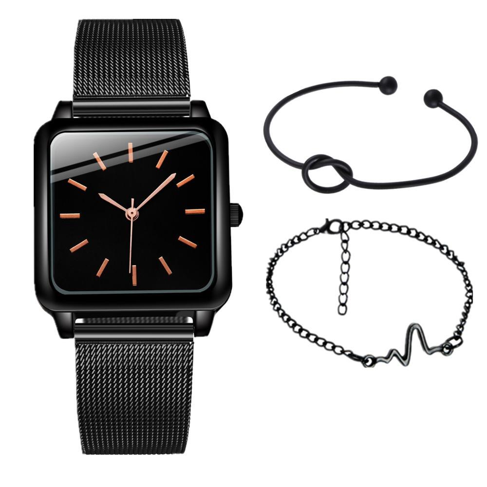 Женские кварцевые часы, квадратные, без логотипа, 3 шт./компл.
