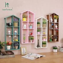 Луи модные книжные шкафы полки растений без пробивки простой сад твердой древесины магазин подвесной стеллаж для хранения украшений
