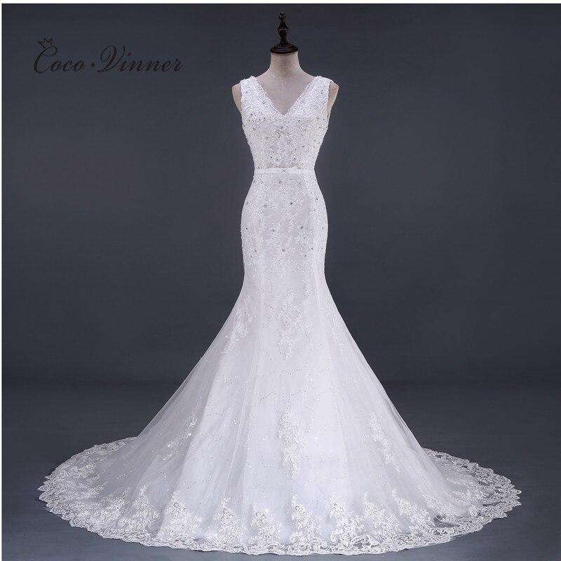 V Neck Sleeveless Appliques Crystal Beading Mermaid Wedding Dress Chapel Tail Plus Size Lace Bride Dress WX0082