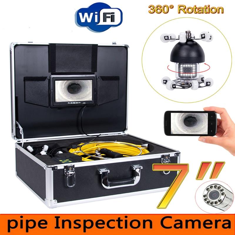 """Cámara de Video de inspección de tubería WiFi de rotación de 7 """"360, endoscopio Industrial de tubería de drenaje, monitor de teléfono Android/IOS"""