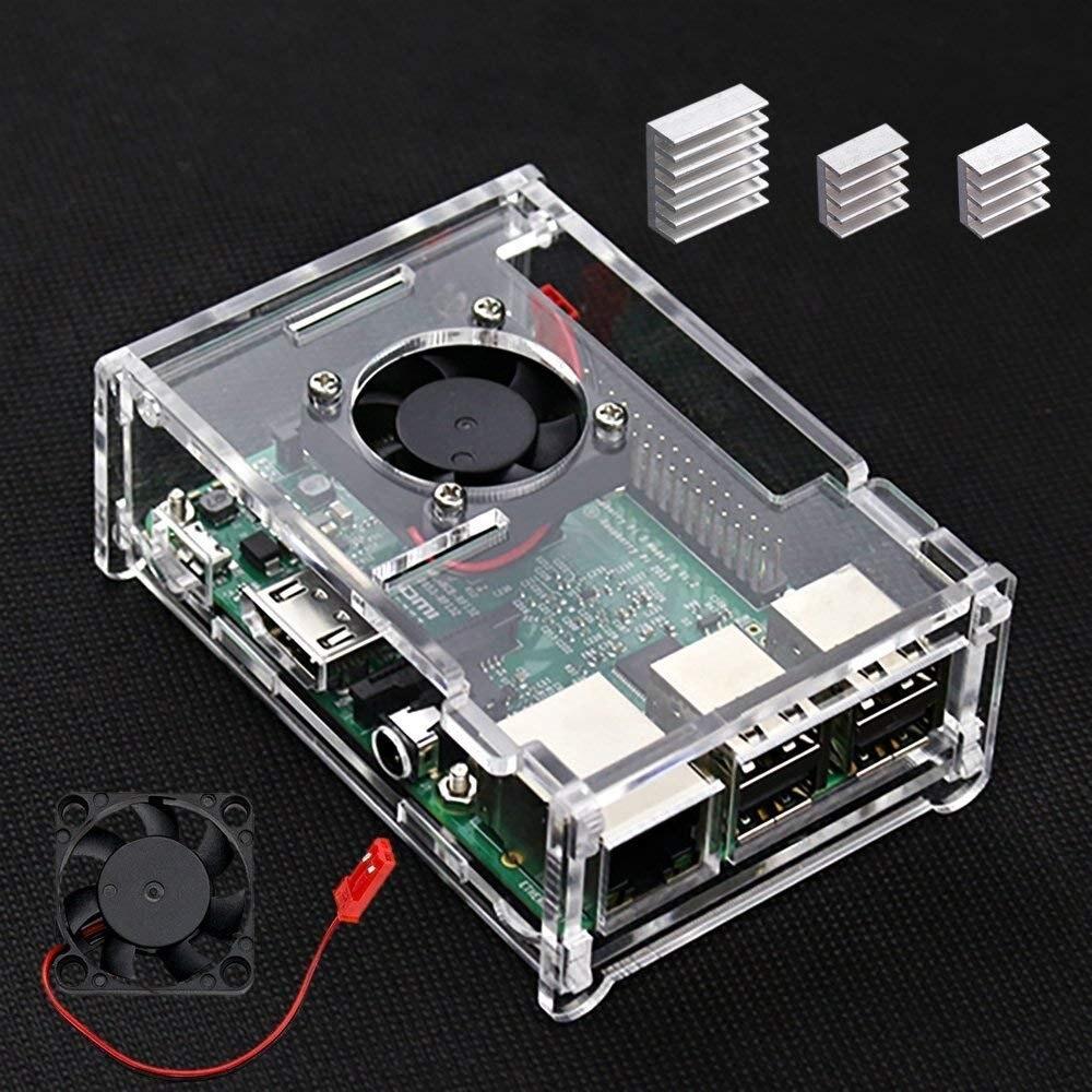 Pi 3 B + чехол с вентилятором и 3 шт. радиаторы для Rapsberry совместимы с Pi 3 Модель B +/Pi 3 Модель B/pi 3/Pi 2/Pi 2b прозрачный